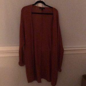 Long rust colored cardigan